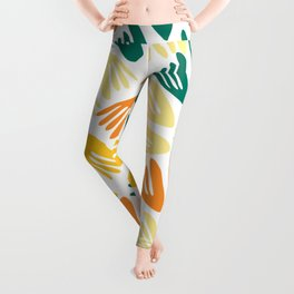 Papier Découpé Modern Abstract Cutout Pattern in Jade Green, Orange, Yellow, and White Leggings