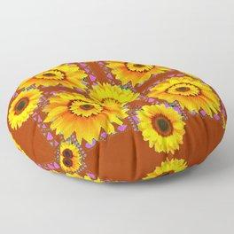 CINNAMON COLOR YELLOW SUNFLOWERS ART Floor Pillow