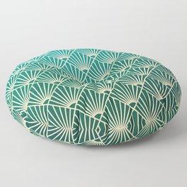 Teal golden Art Deco pattern Floor Pillow