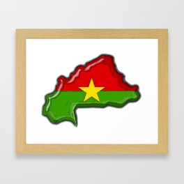Burkina Faso with Burkinabe Flag Framed Art Print