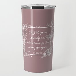 Cast Your Anxiety Wildflower Frame Bible Verse Travel Mug