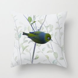 Little Silvereye Throw Pillow