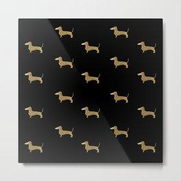 Dachshund Dog Gold Glitter Pattern Metal Print