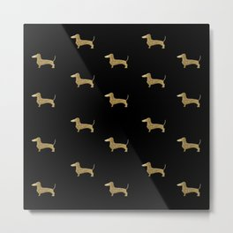 Dachshund Dog Gold Glitter Pattern Metal Print
