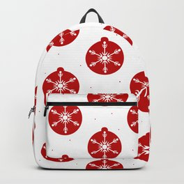 Snowflakes in Red Ornaments Christmas Decor Backpack