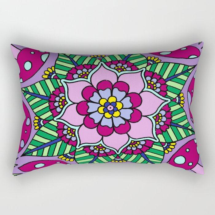 Mushroom Mandala Rectangular Pillow