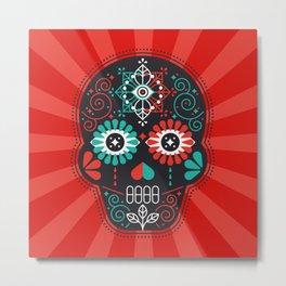 Día de Muertos Calavera • Mexican Sugar Skull – Black & Turquoise on Red Starburst Metal Print