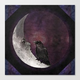 The crow and its moon. Canvas Print