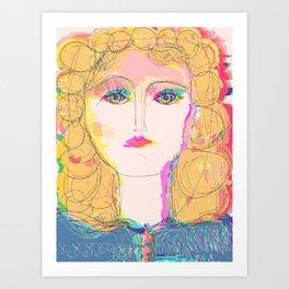 Glitch Beauty Pastel Girl Portrait  Art Print