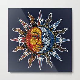 Celestial Mosaic Sun and Moon Metal Print