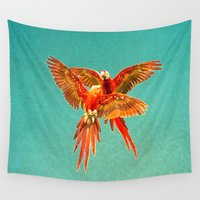 fight Wall Tapestries featuring INFLIGHT FIGHT by Catspaws