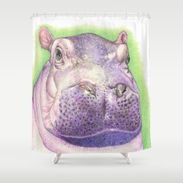 Purple Hippo Shower Curtain