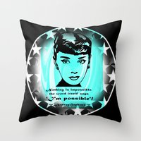 audrey Throw Pillows featuring Audrey by SwanniePhotoArt