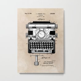 patent art typewriter Metal Print