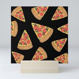 Pizza Party Black Pattern Mini Art Print