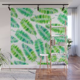 Watercolor palm leaves pattern Wall Mural
