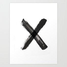 X Minimalist Ink Art Art Print