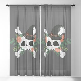 Autumn Witch Skull Sheer Curtain