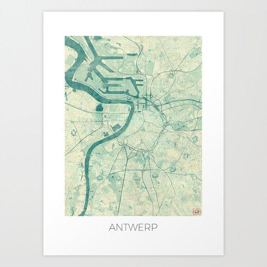 Antwerp Map Blue Vintage Art Print