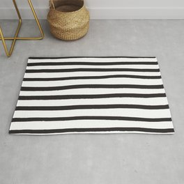 Black and white marker lines Rug