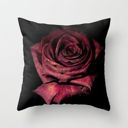 Deep Red Rose On Black Background Throw Pillow