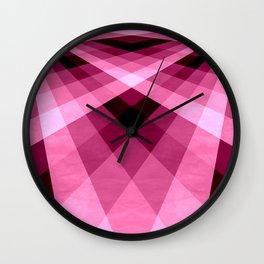 Magenta Burgundy Groovy Checkerboard Plaid Wall Clock