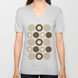 Brown Circles, Tan Dots, Pattern, Digital Design Unisex V-Neck