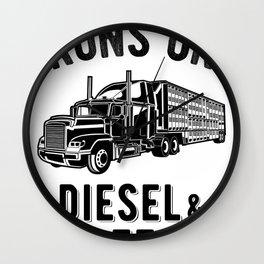 Runs On Diesel and Coffee Funny Semi Truck Driver Hauling Wall Clock