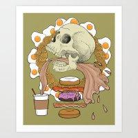 breakfast Art Prints featuring Breakfast by Megan Leigh Jessup