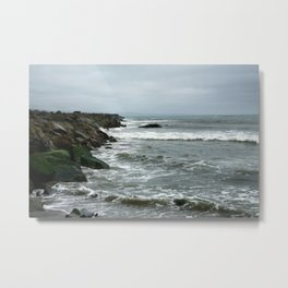 Green Rocks on a Stormy Day Metal Print