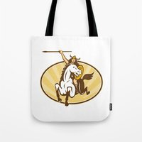 mythology Tote Bags featuring  valkyrie of Norse mythology female rider warriors by patrimonio