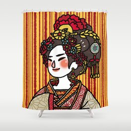 Lady With Flower Headpiece Shower Curtain