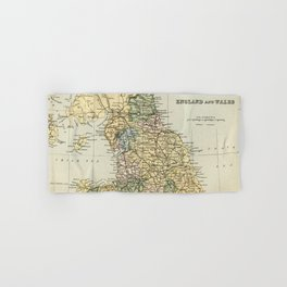 North England and Wales Vintage Map Hand & Bath Towel