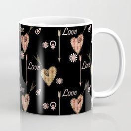 Love . Openwork heart pierced by an arrow . Coffee Mug