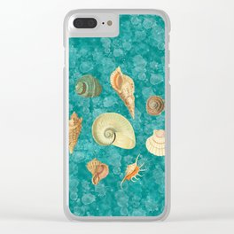 Dancing Shells Turquoise Watercolor Splashes Clear iPhone Case