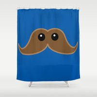 mustache Shower Curtains featuring Mustache by NKonyk