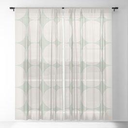 Circular Minimalism - Soft Green Sheer Curtain
