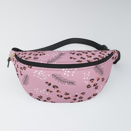 Minimal Leopard animal print winter Christmas panther pine tree pink Fanny Pack