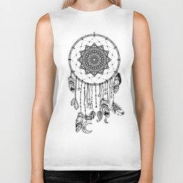 Hand drawn Native American Indian talisman dreamcatcher with feathers and moon. Biker Tank