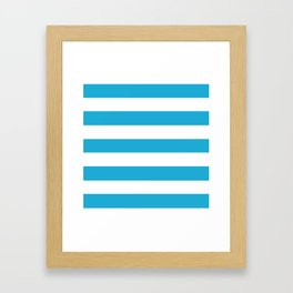 Battery charged blue - solid color - white stripes pattern Framed Art Print