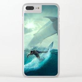 Surfer Versus Sharks Clear iPhone Case