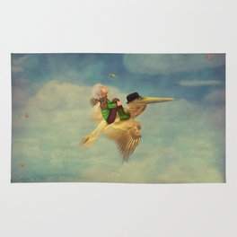 The little boy and brown pelican  in the sky Rug