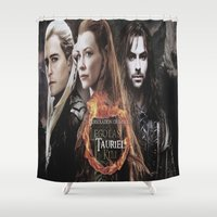 kili Shower Curtains featuring kili,legolas,tauriel,the hobbit,lord of the rings by ira gora