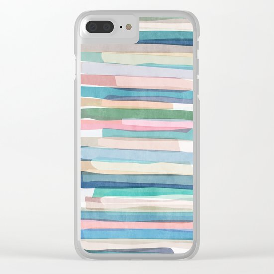 Pastel Stripes 1 Clear iPhone Case
