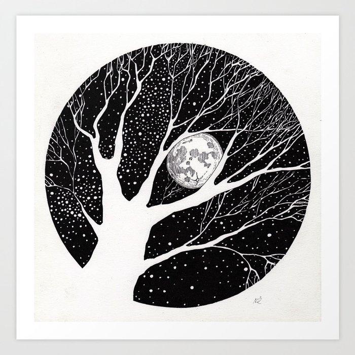 moonlight shadow Art Print