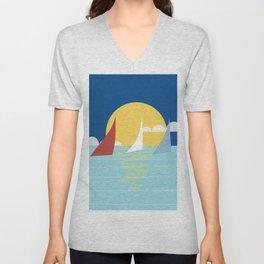 Sun, ocean and sails Unisex V-Neck