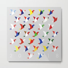 FIFA 2018 Inspired Paper Cranes Metal Print