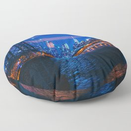 Popular Overpass New York City Beautiful Citylights United States Ultra High Res Floor Pillow