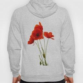 Delicate Red Poppies Vector Hoody