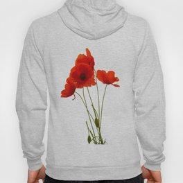 Delicate Red Poppies Vector Style Hoody